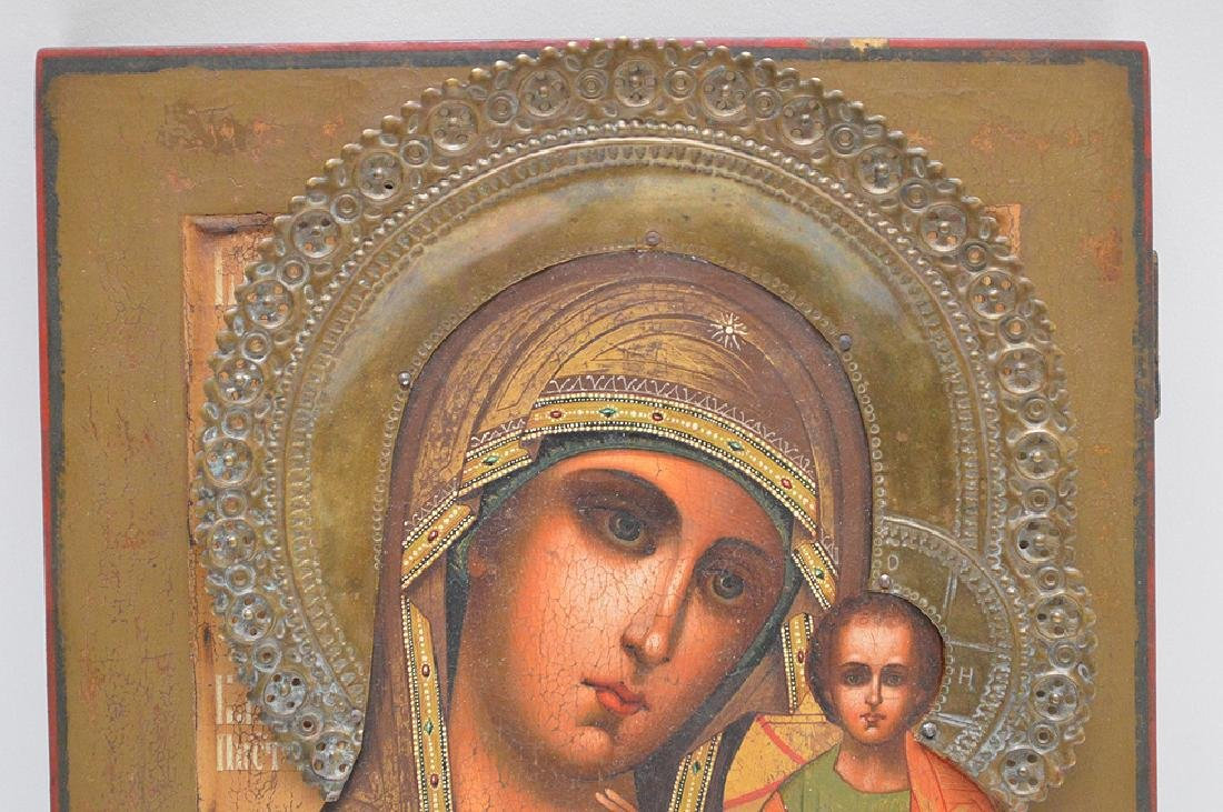 19th Century Russian painted Icon, Mary & Christ Child - 2