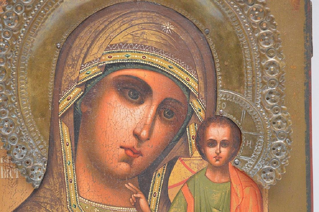 19th Century Russian painted Icon, Mary & Christ Child - 3