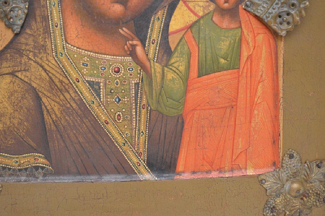 19th Century Russian painted Icon, Mary & Christ Child - 4