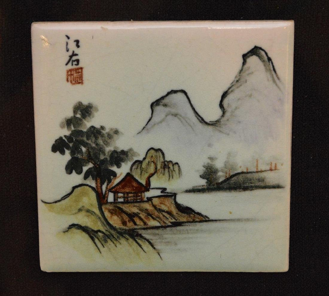 Pair of Chinese Porcelain Hand Painted Plaques. Large - 3
