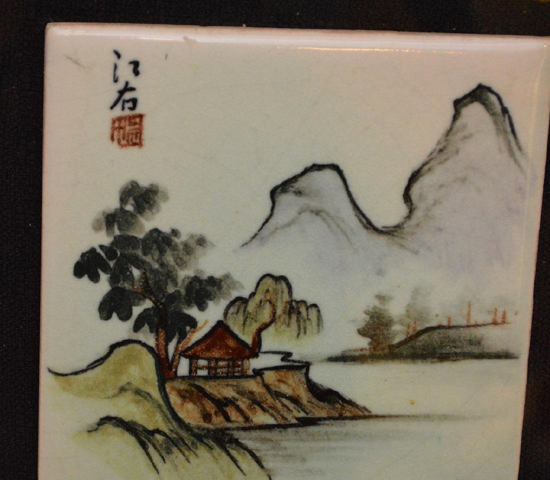Pair of Chinese Porcelain Hand Painted Plaques. Large - 4