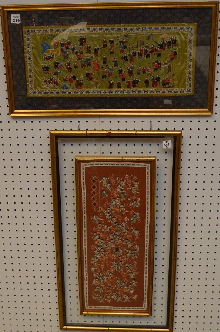 Pair of Vintage Chinese Silk Embroideries depicting