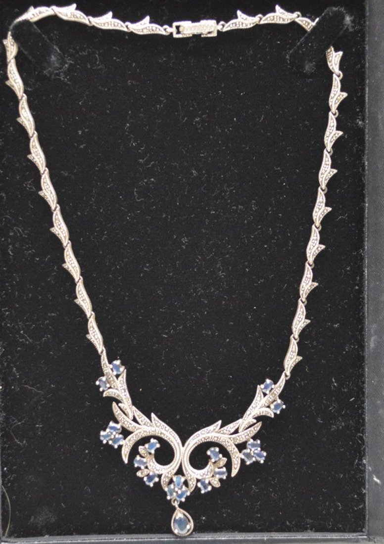 Antique Edwardian style silver necklace set with
