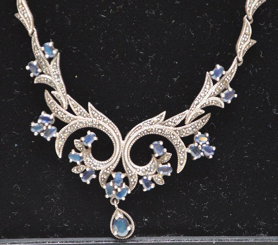 Antique Edwardian style silver necklace set with - 2