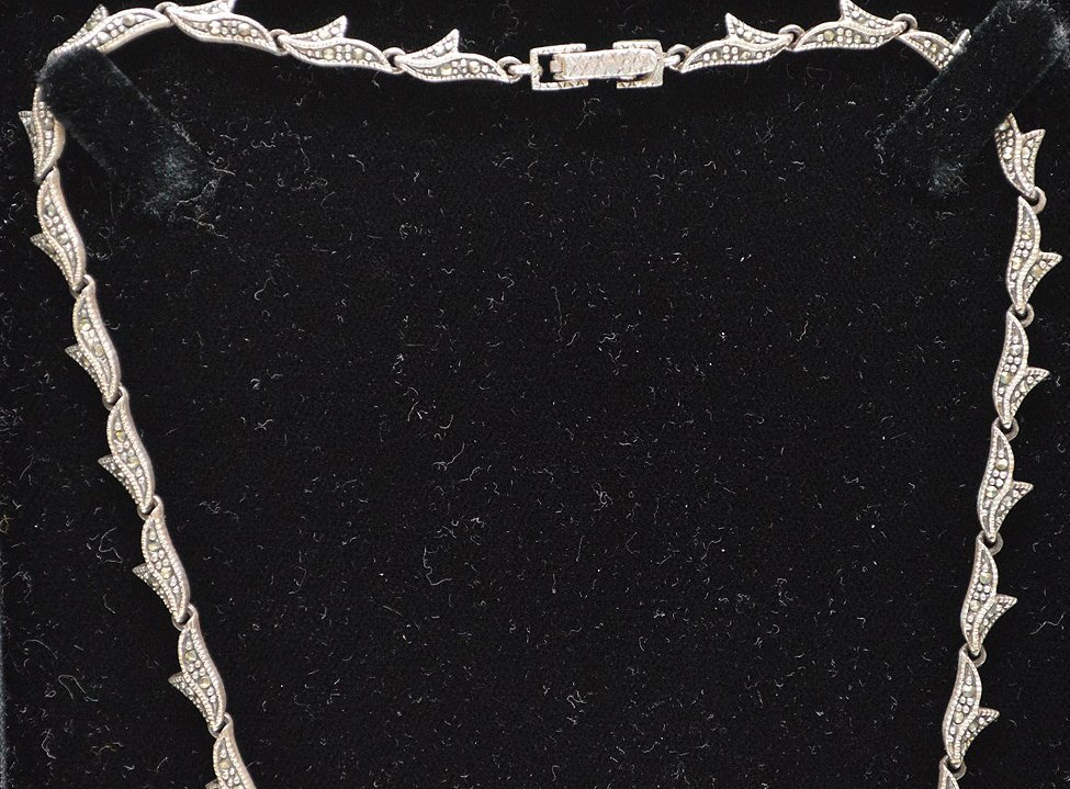 Antique Edwardian style silver necklace set with - 3