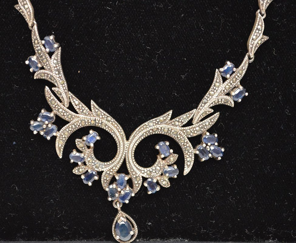 Antique Edwardian style silver necklace set with - 5
