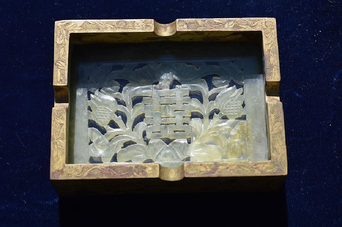 Chinese Hand Carved Jade Gilt Ashtray. The jade plaque - 10