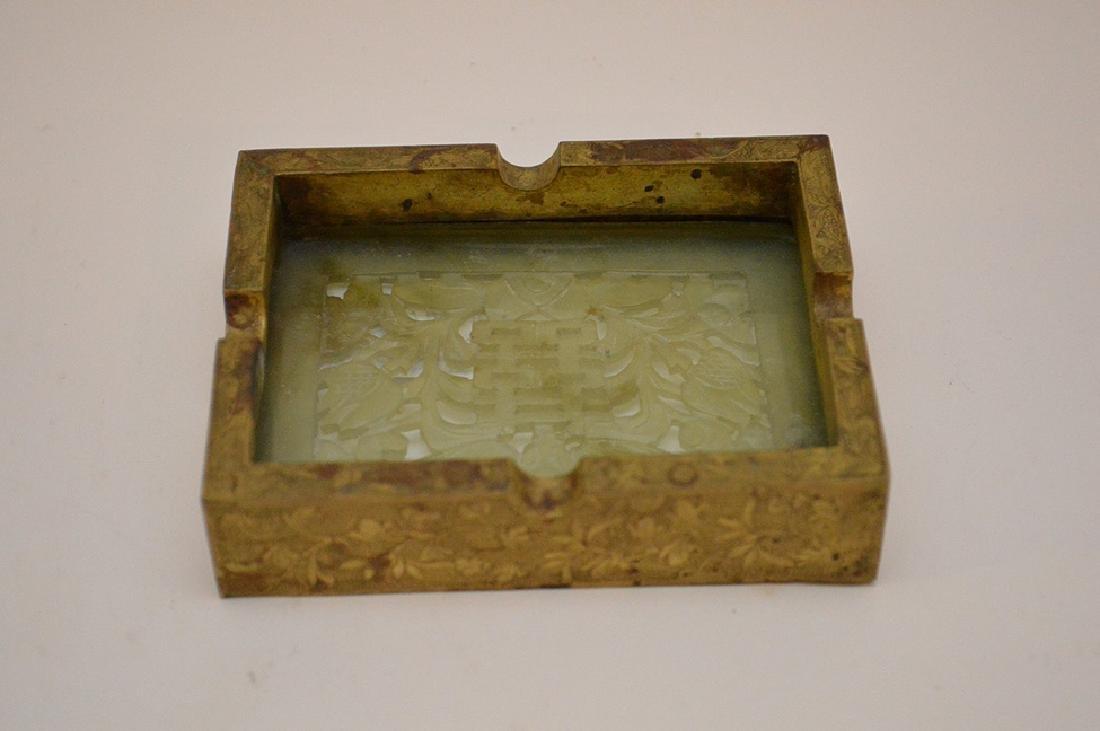 Chinese Hand Carved Jade Gilt Ashtray. The jade plaque