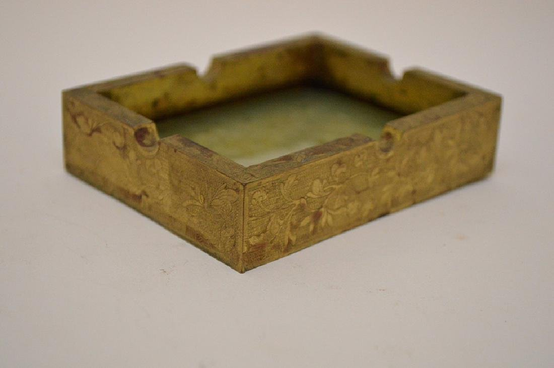 Chinese Hand Carved Jade Gilt Ashtray. The jade plaque - 2