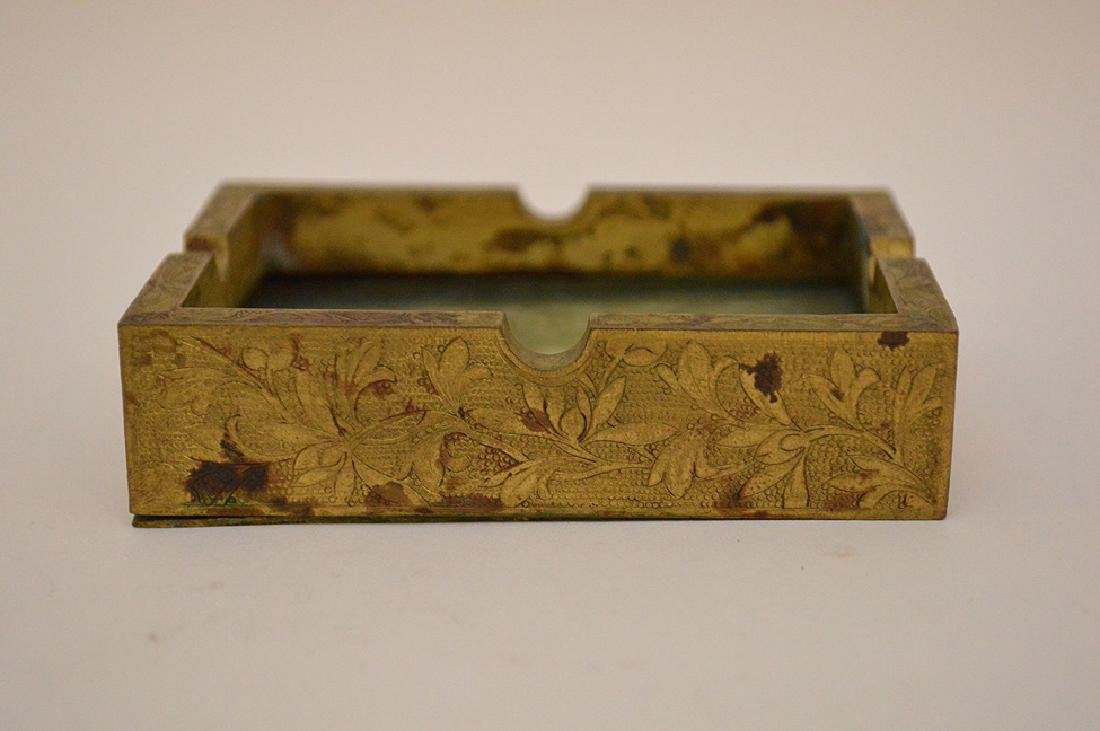 Chinese Hand Carved Jade Gilt Ashtray. The jade plaque - 3