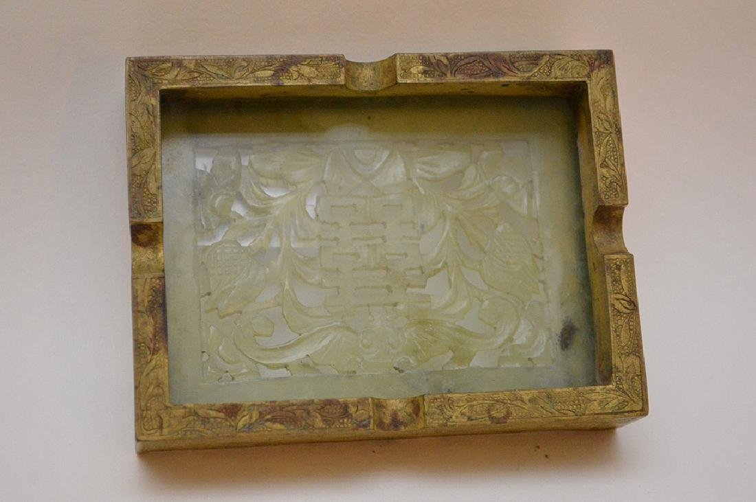 Chinese Hand Carved Jade Gilt Ashtray. The jade plaque - 5