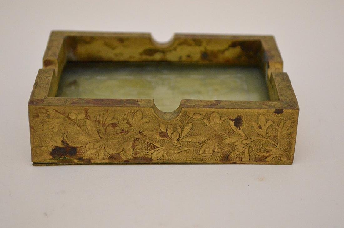 Chinese Hand Carved Jade Gilt Ashtray. The jade plaque - 9