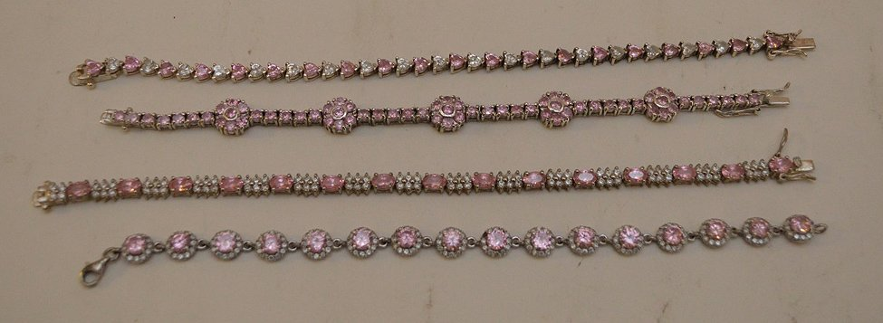 "4 Sterling Silver pink stone bracelets, 7""-8"" in good"