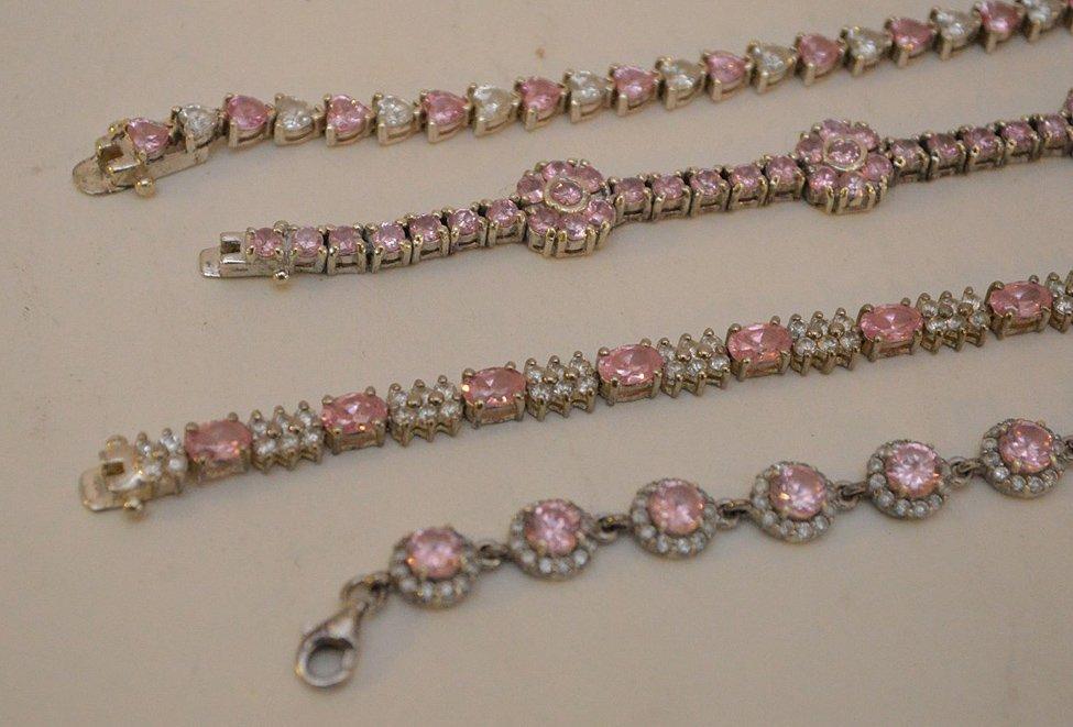 "4 Sterling Silver pink stone bracelets, 7""-8"" in good - 2"