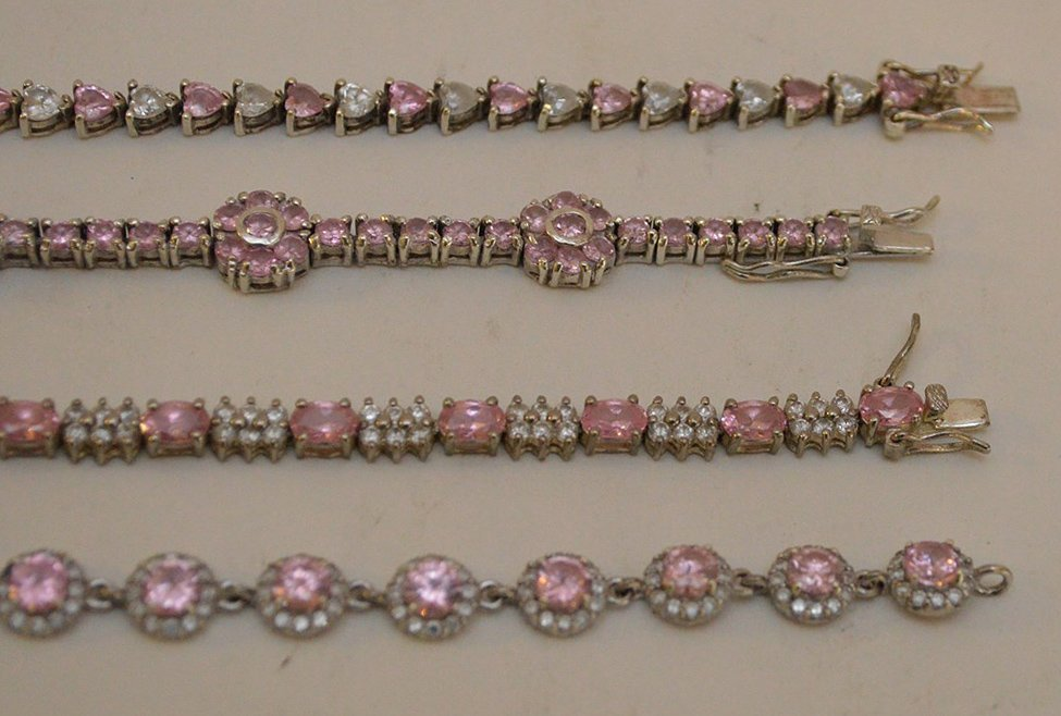 "4 Sterling Silver pink stone bracelets, 7""-8"" in good - 3"