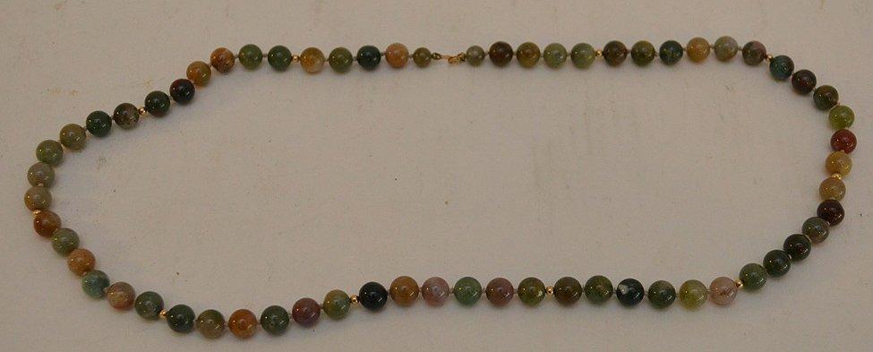 """14K yellow gold jade jadeite bead necklace 24"""" normal"""