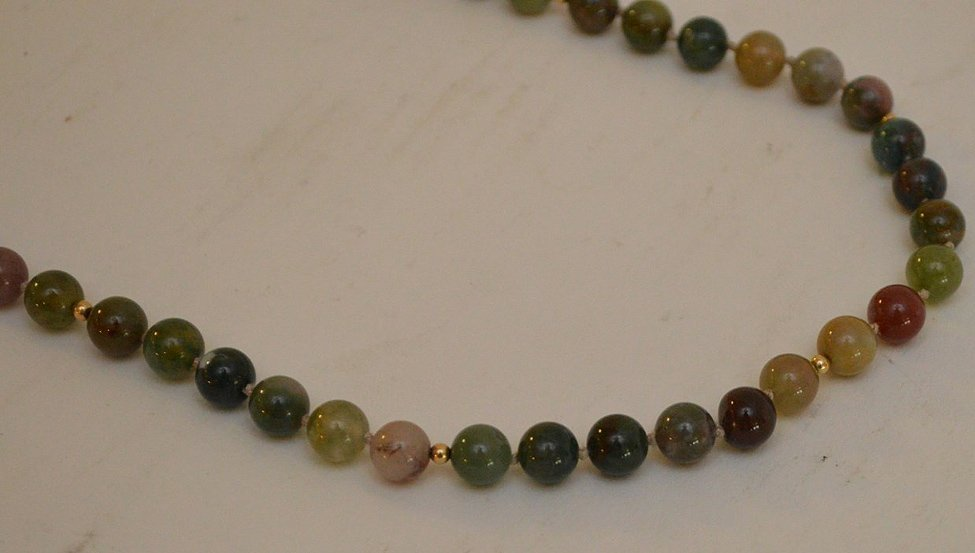"""14K yellow gold jade jadeite bead necklace 24"""" normal - 2"""
