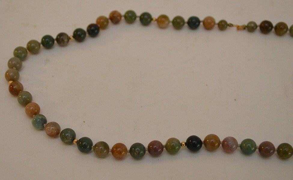 """14K yellow gold jade jadeite bead necklace 24"""" normal - 3"""