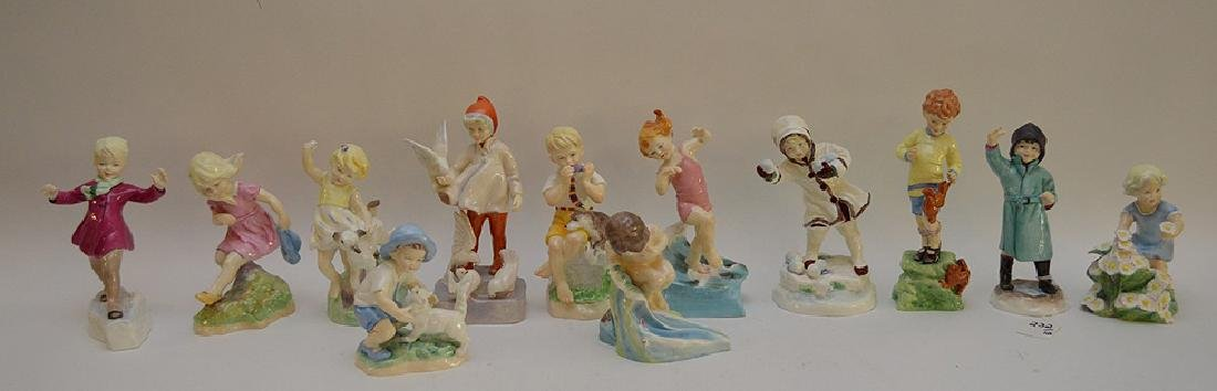 12 Royal Worcester fine bone china figurines modeled by