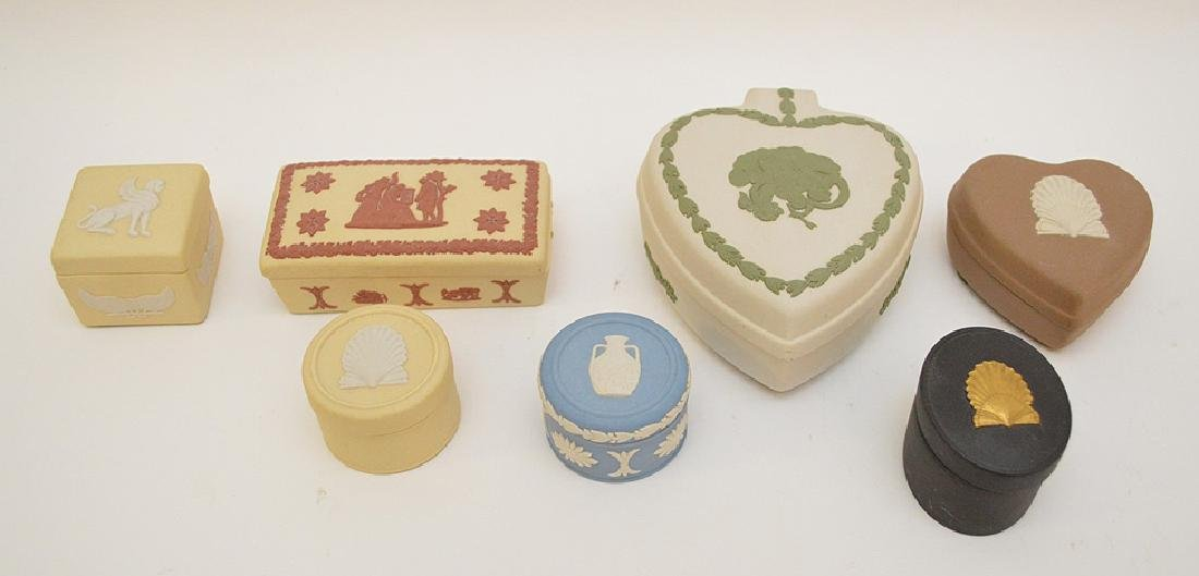 "7 Wedgwood trinket boxes, 1.5"" x 4"" good condition"