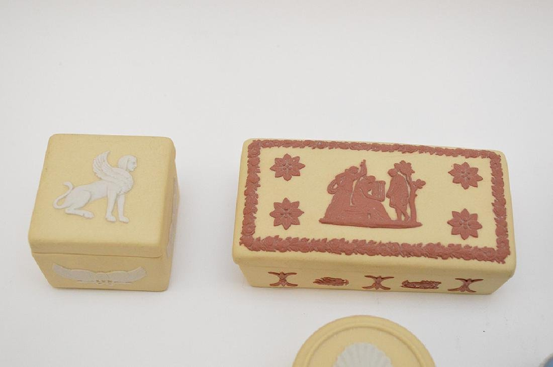 "7 Wedgwood trinket boxes, 1.5"" x 4"" good condition - 5"