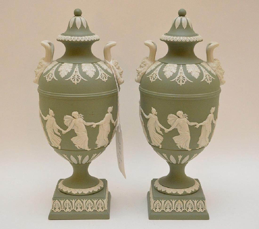 "Wedgewood Green & White Urn 11"" x 4.5"" in good"