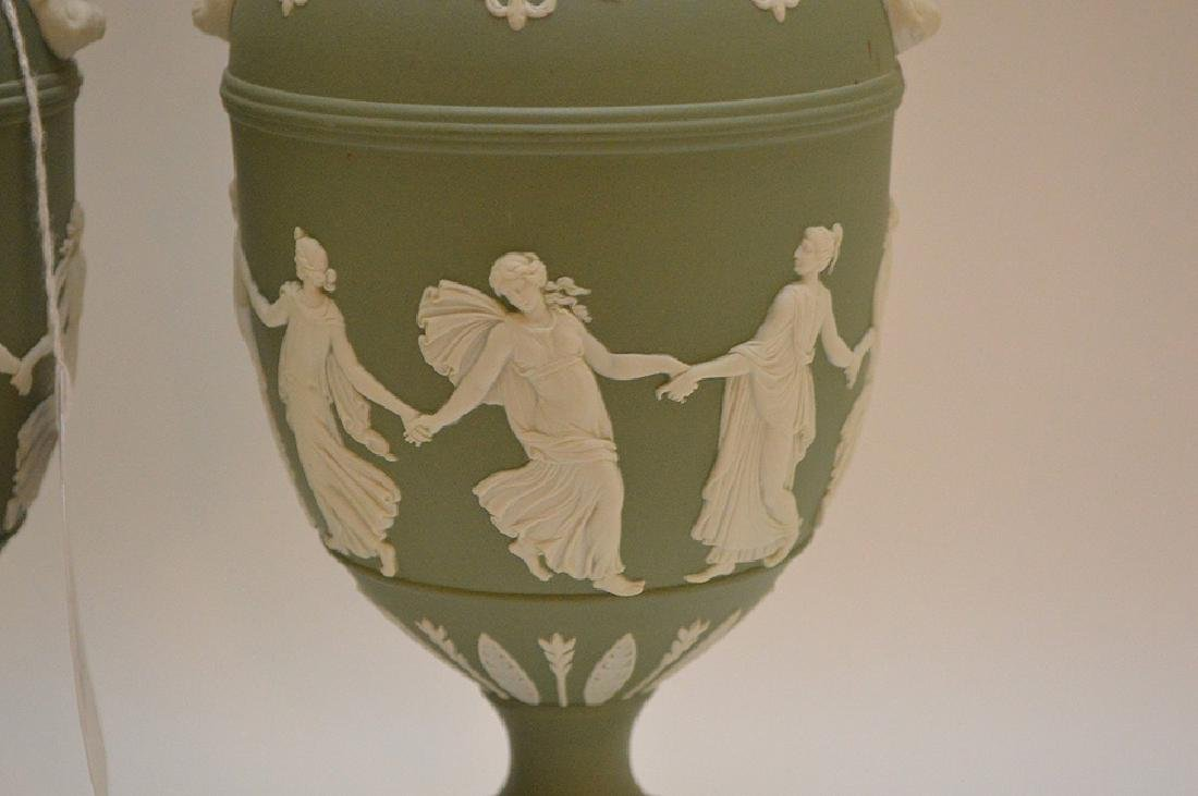 "Wedgewood Green & White Urn 11"" x 4.5"" in good - 2"
