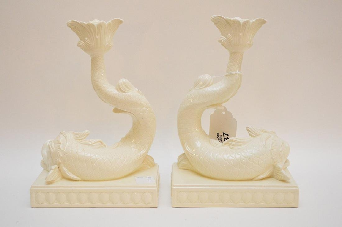 "Wedgewood white dolphin candlestick holders 10"" x 7"" - 3"