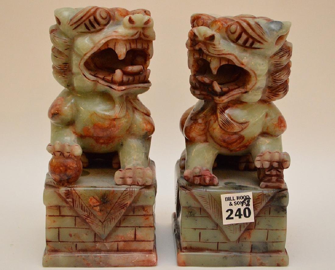 "Pair jade foo dog dragons, 8""h x 4 1/2""w"