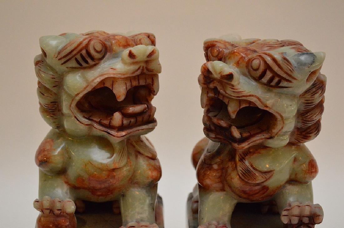 "Pair jade foo dog dragons, 8""h x 4 1/2""w - 2"
