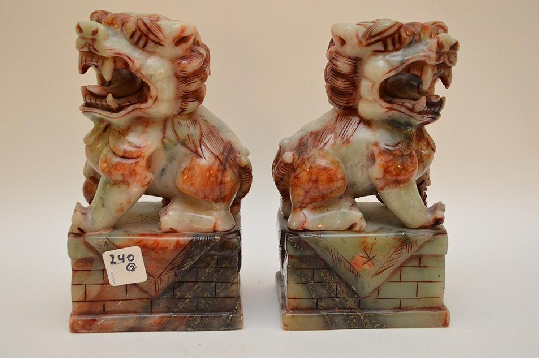 "Pair jade foo dog dragons, 8""h x 4 1/2""w - 3"
