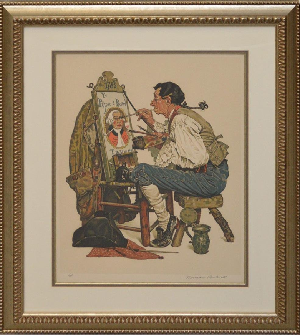 "Norman Rockwell, lithograph, ""Ye Pipe and Bowl"", pencil"