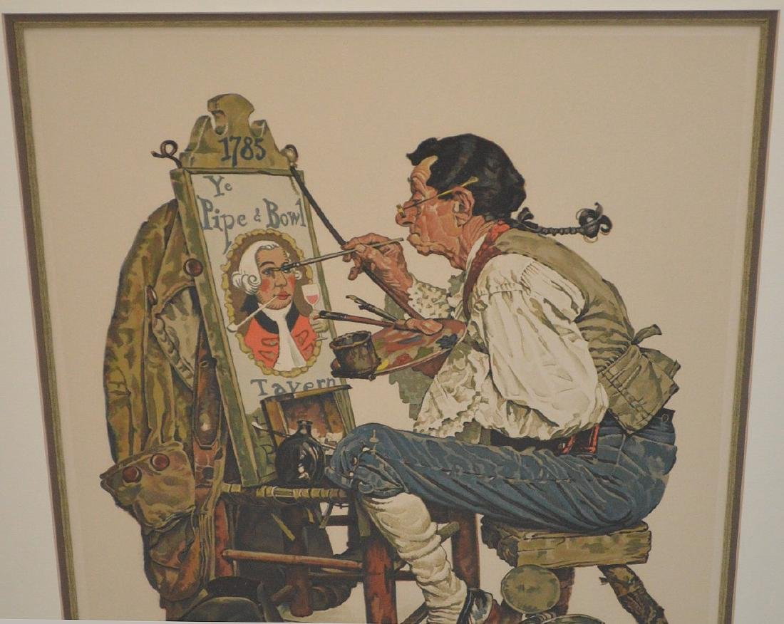 "Norman Rockwell, lithograph, ""Ye Pipe and Bowl"", pencil - 2"