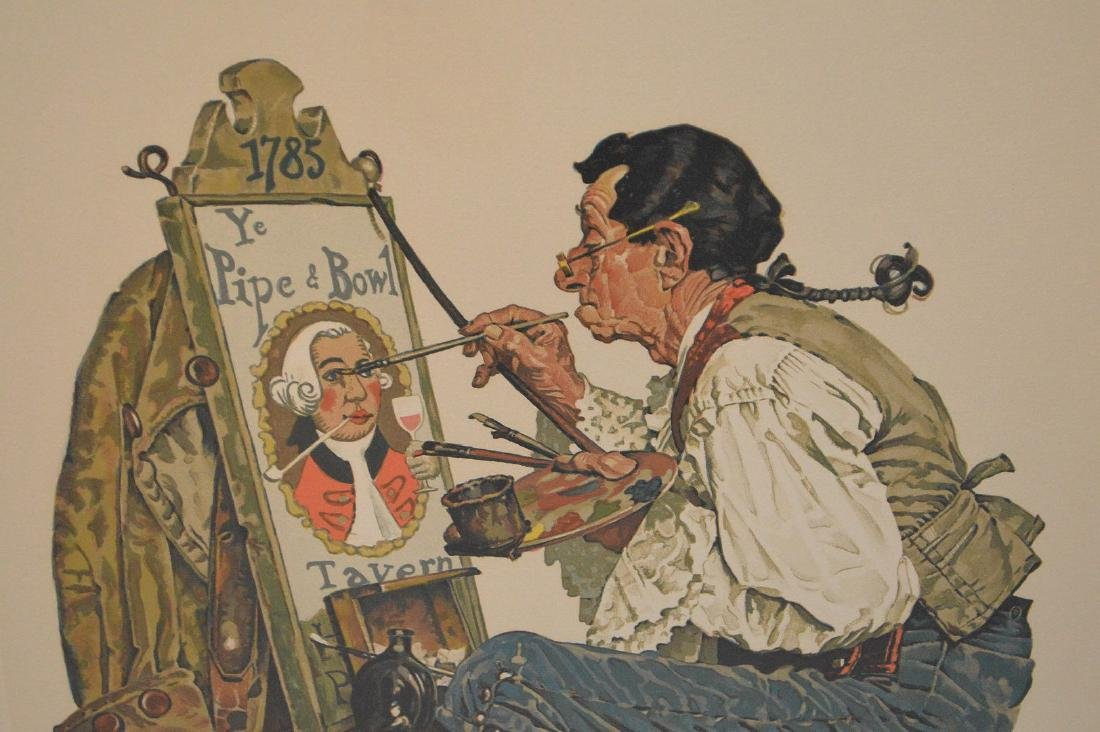 "Norman Rockwell, lithograph, ""Ye Pipe and Bowl"", pencil - 3"