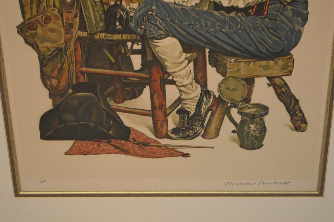 "Norman Rockwell, lithograph, ""Ye Pipe and Bowl"", pencil - 4"