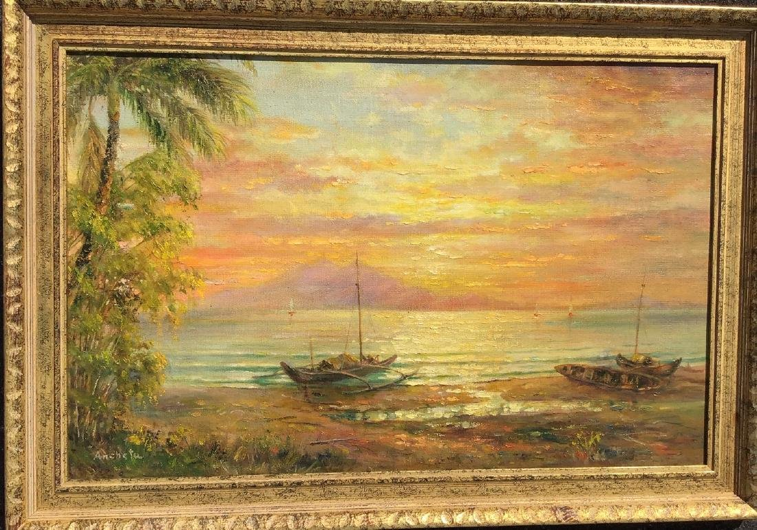 Sunset shoreline scene with mountain in the distance,