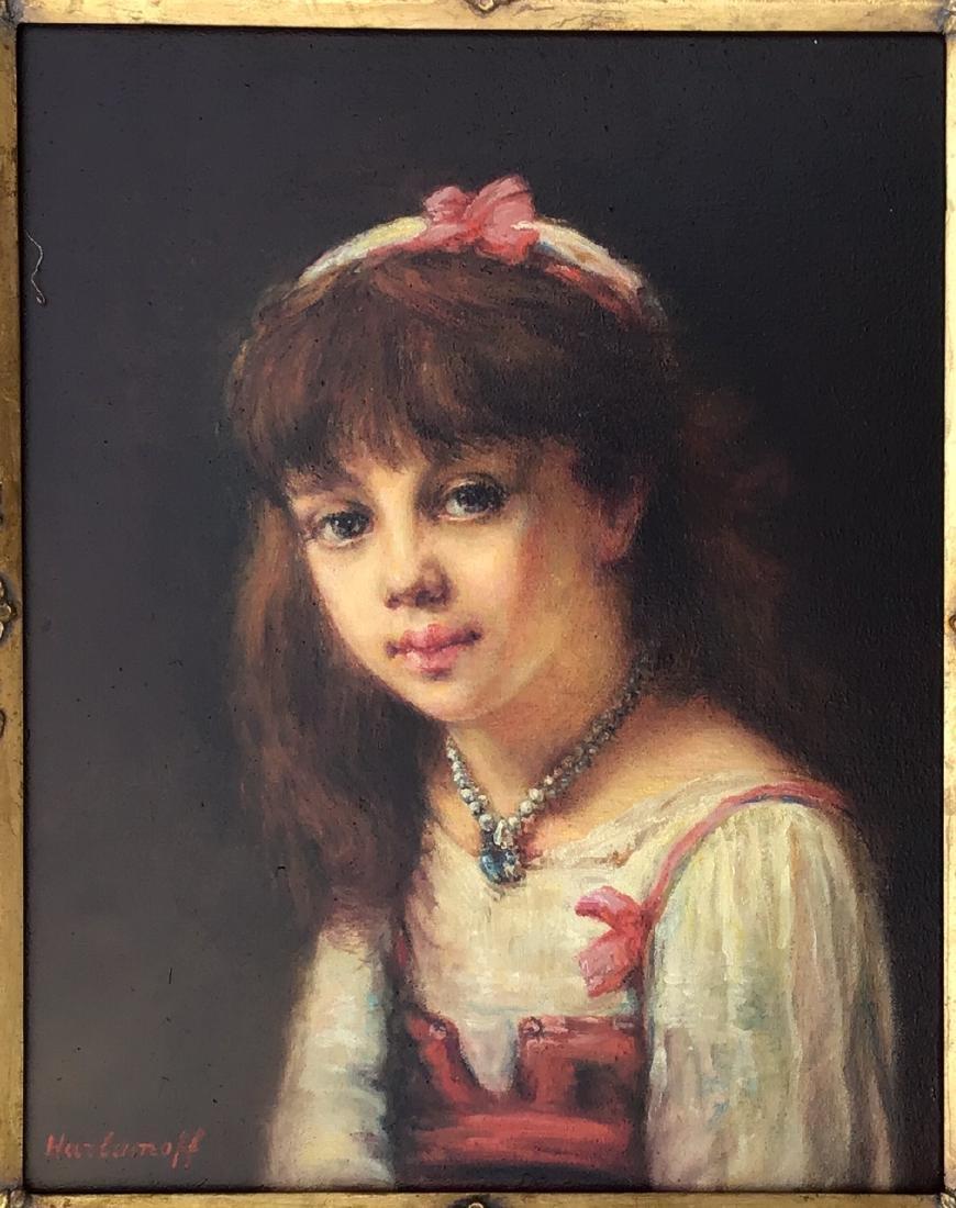 Attributed to: Alexej Harlamoff RUSSIAN Portrait Girl - 2