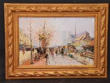 Paul Renard (French, 1941-1997) Paris Street Scene, oil