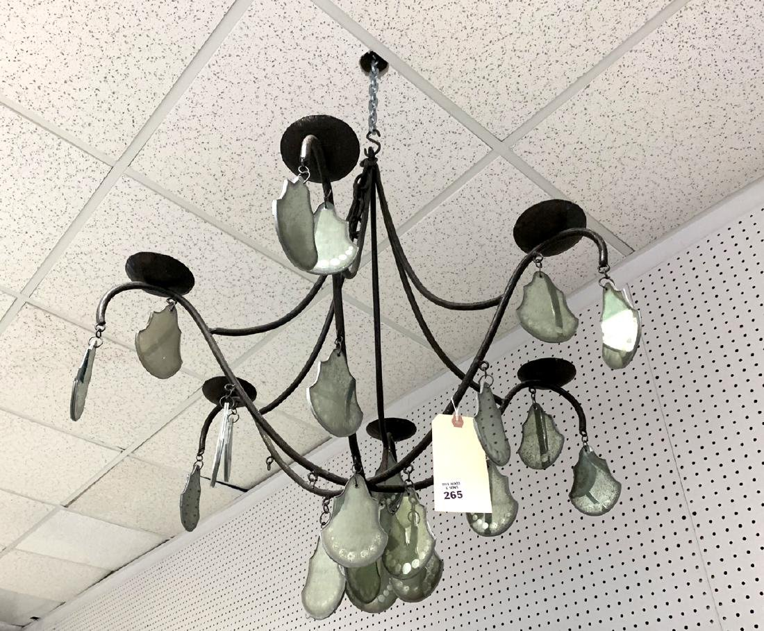 Iron 6 branch French chandelier with mirrored glass and