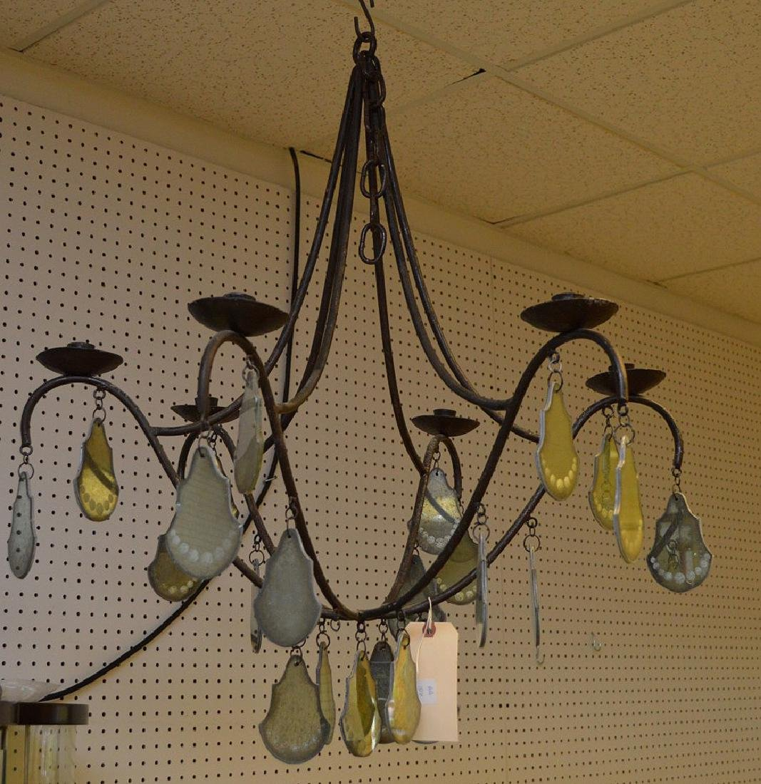 Iron 6 branch French chandelier with mirrored glass and - 2