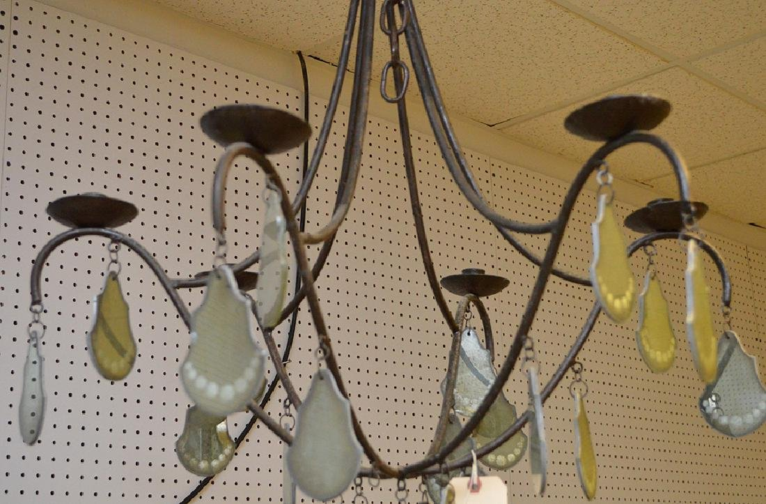 Iron 6 branch French chandelier with mirrored glass and - 3