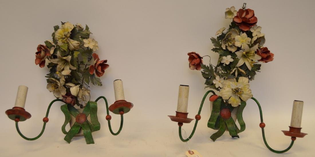 Italian Antique Painted Tole Flower Bouquet Sconce,