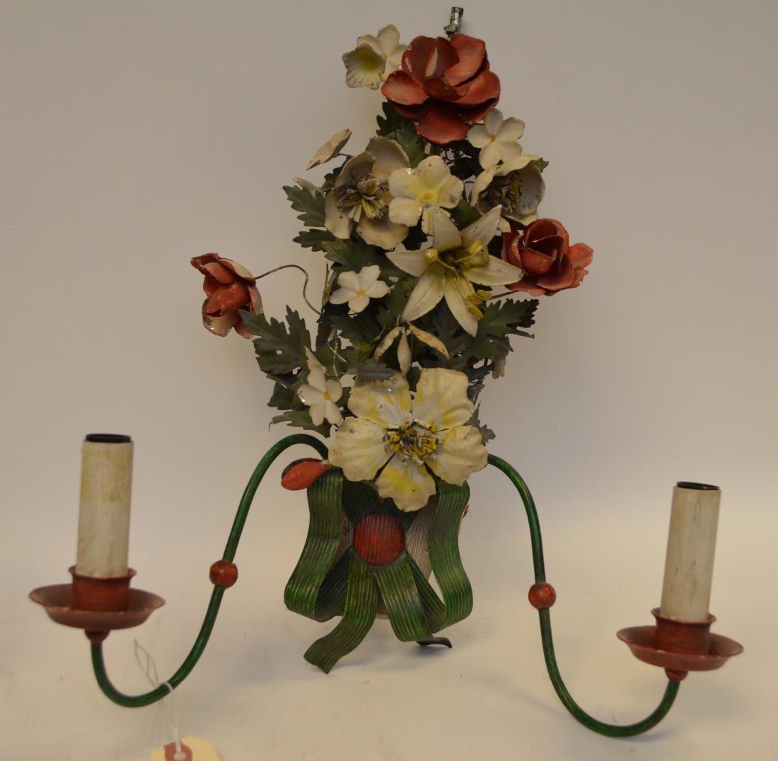 Italian Antique Painted Tole Flower Bouquet Sconce, - 2