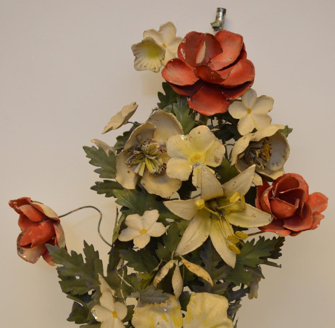 Italian Antique Painted Tole Flower Bouquet Sconce, - 3