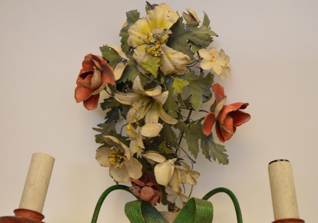 Italian Antique Painted Tole Flower Bouquet Sconce, - 4