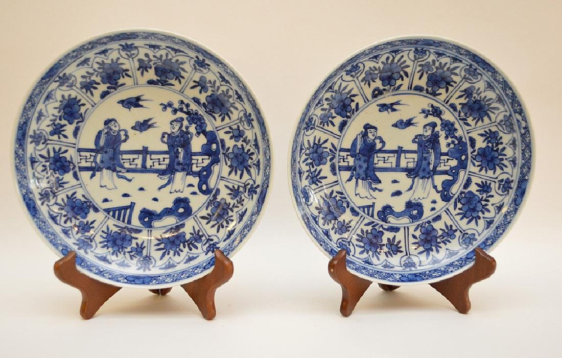 PAIR OF CHINESE BLUE & WHITE PORCELAIN PLATES -