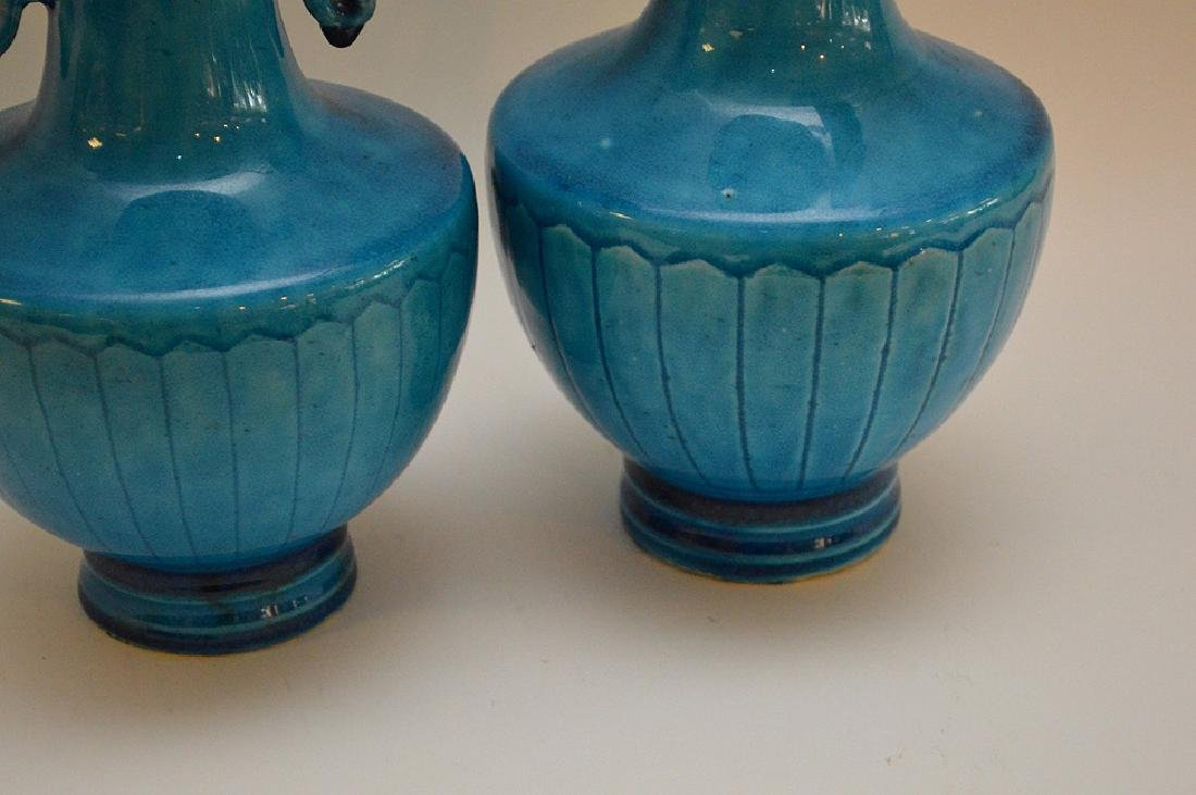 PAIR OF CHINESE TURQUOISE GLAZED VASES - features a - 3