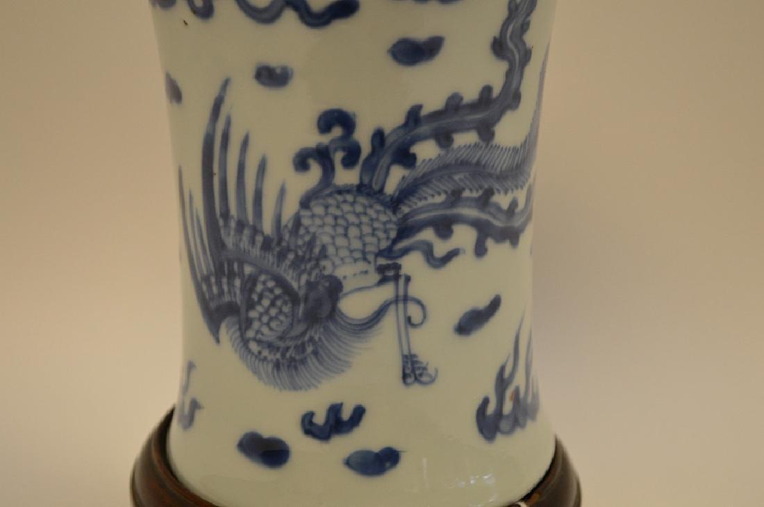 CHINESE BLUE & WHITE PORCELAIN VASE - with custom wood - 4