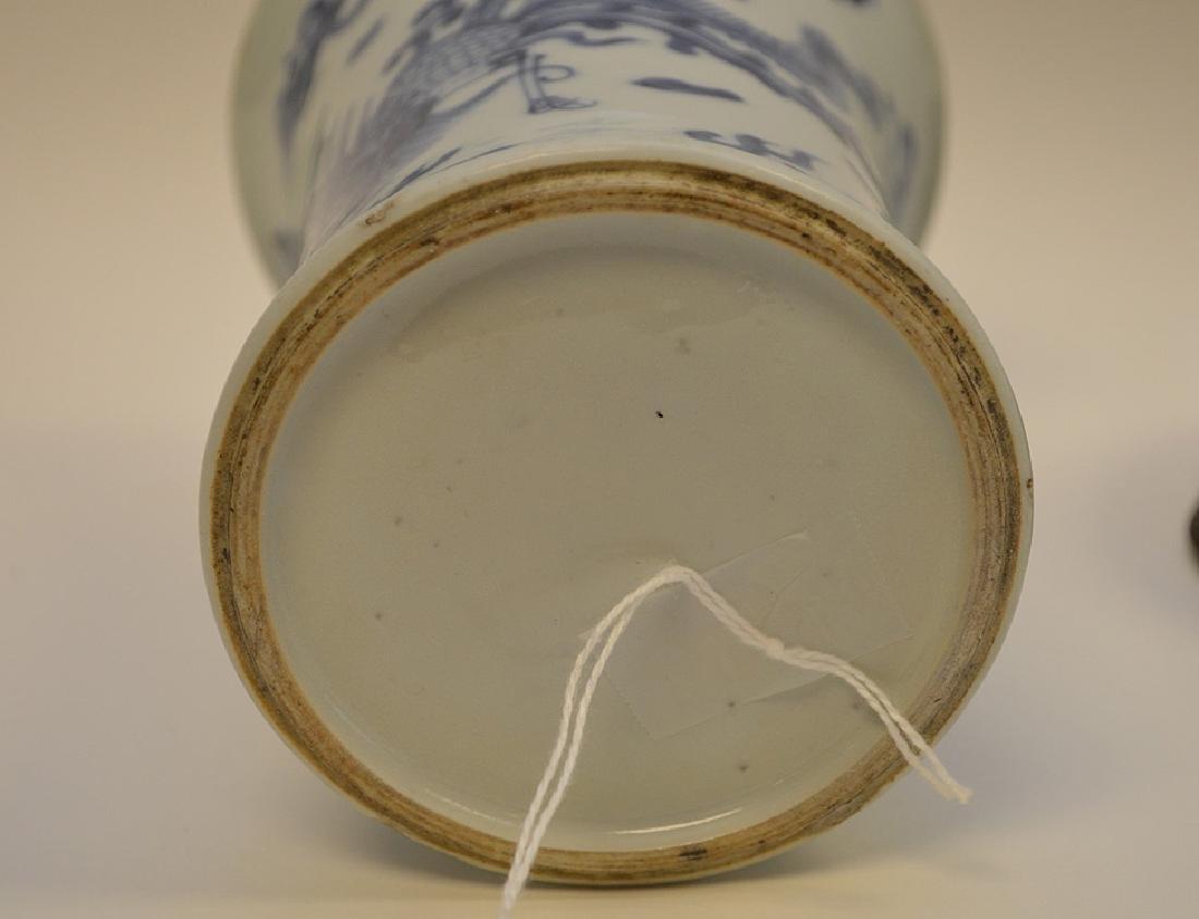CHINESE BLUE & WHITE PORCELAIN VASE - with custom wood - 6