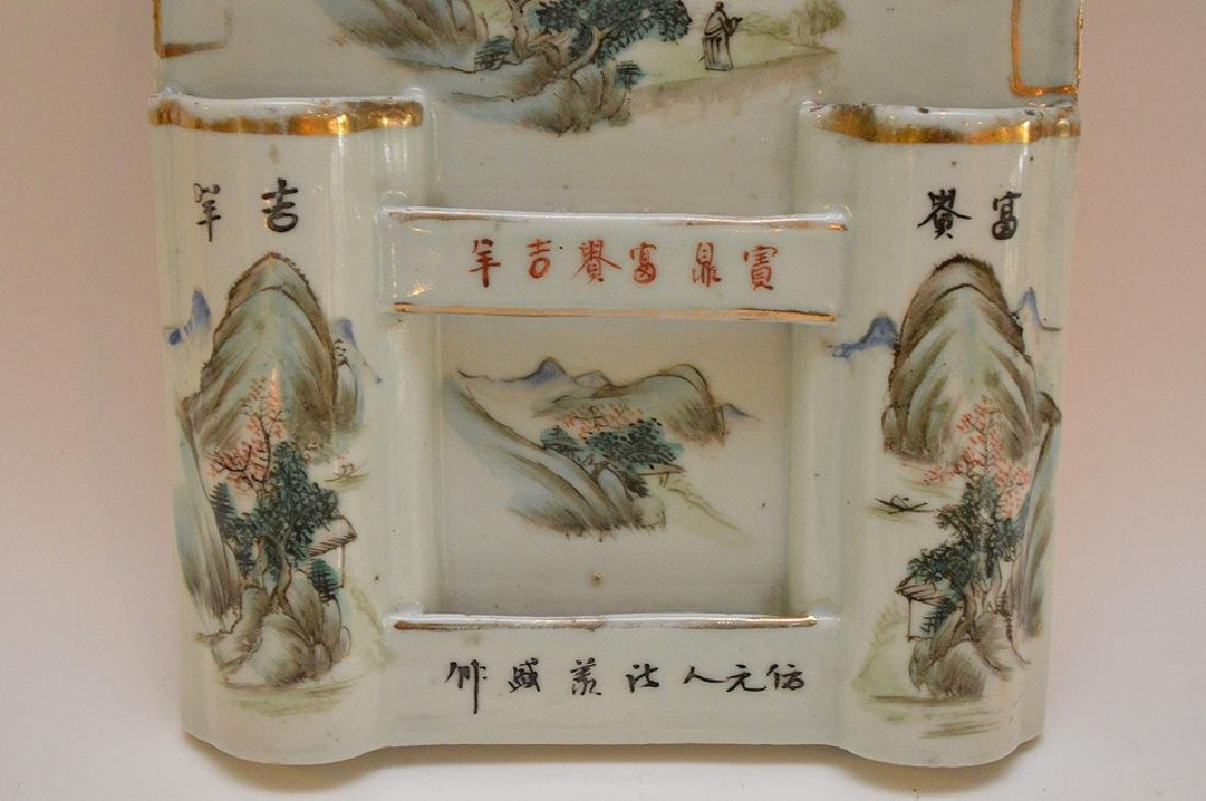 CHINESE REPUBLIC PERIOD PORCELAIN WALL POCKET - - 2